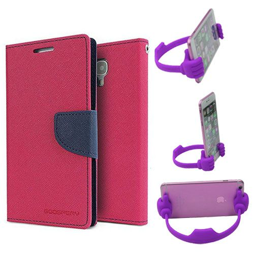 Wallet Flip Case Back Cover For Micromax Uuphoria-(Pink) + Flexible Portable Thumb Ok Stand Holder By Style Crome store