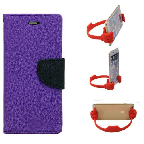 Wallet Flip Case Back Cover For Motorola Moto E2-(Purple) + Flexible Portable Thumb Ok Stand Holder By Style Crome store