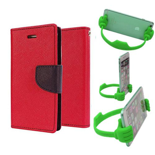 Wallet Flip Case Back Cover For Sony Xperia M4-(Red) + Flexible Portable Thumb Ok Stand Holder By Style Crome store
