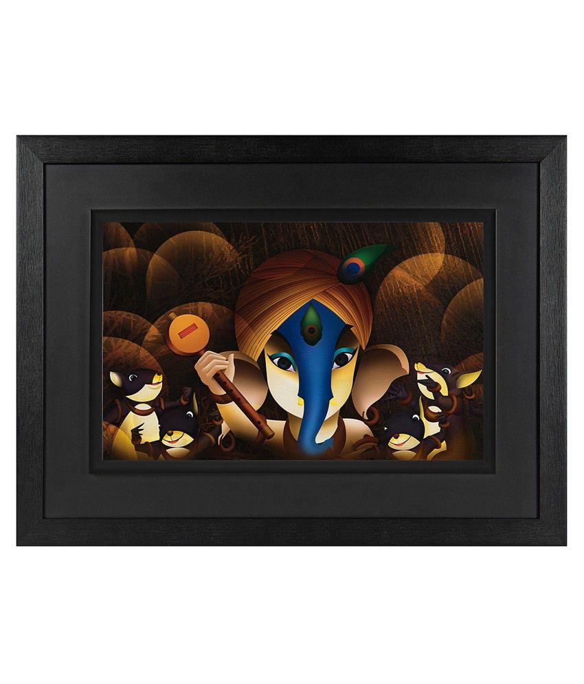 JAF Wood Ganesha Art Prints With Double Frame Single Piece