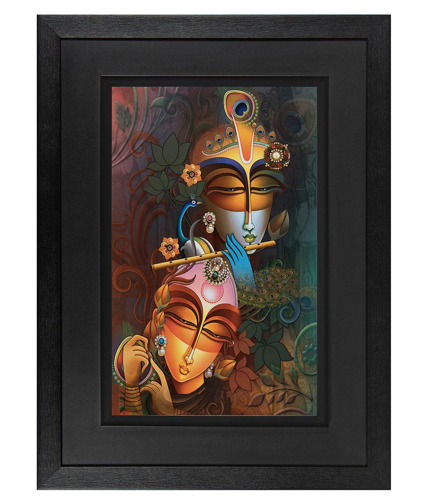 JAF Radha Krishna Wood Art Prints With Double Frame Single Piece
