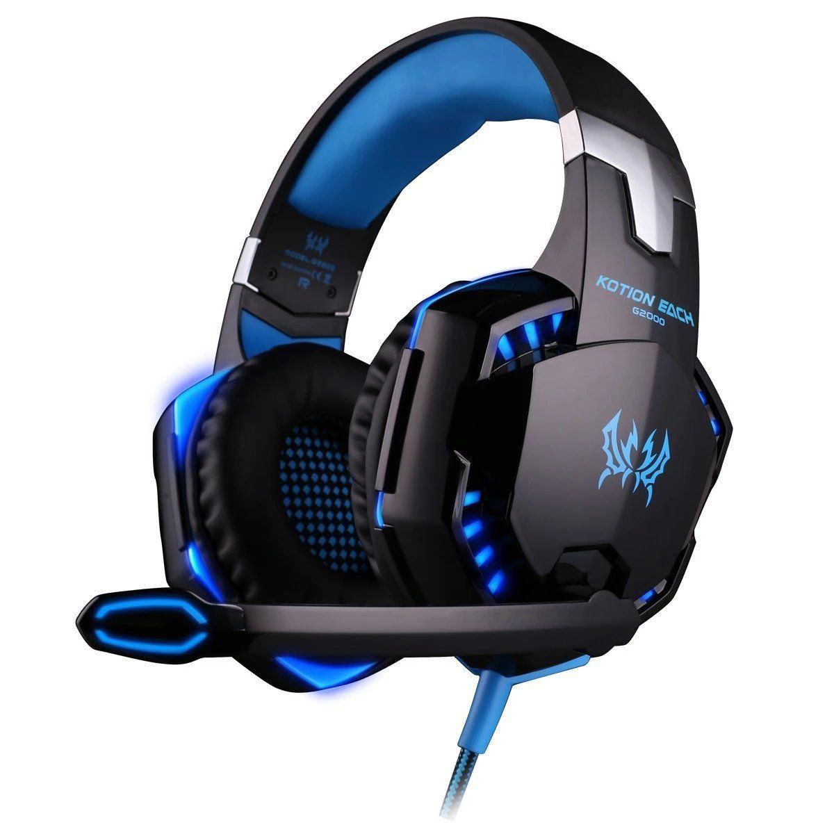 Kotion Each G2000 Over Ear Gaming Headphones with Mic and LED (Black/Blue)