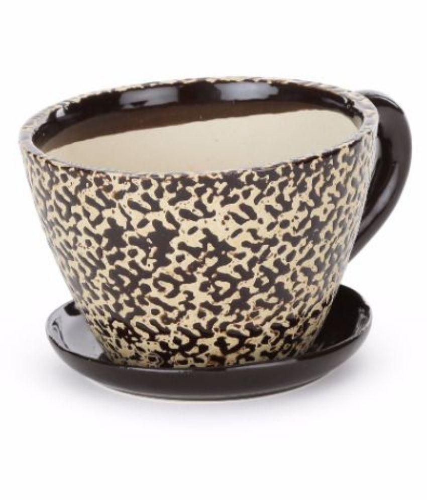Unravel India Ceramic Brown Cup Saucer Planter Buy Unravel India
