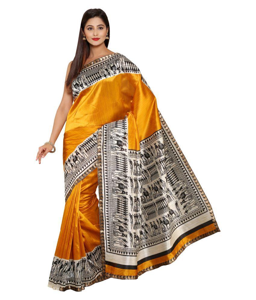 Aryahi Yellow Art Silk Saree