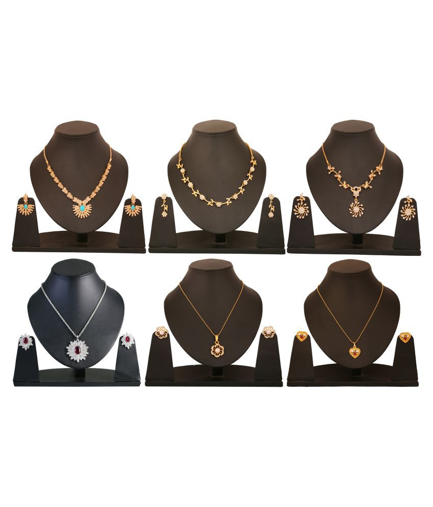 Touchstone Combo of Multicolour Three Necklace Sets and Three Pendant Sets