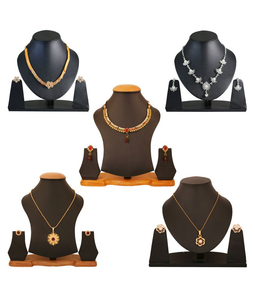 Touchstone Combo of Multicolour Three Necklace Sets and Two Pendant Sets