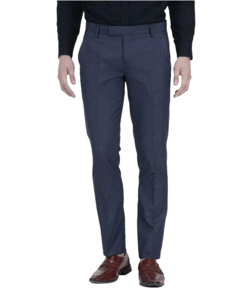 Vandnam Fabrics Navy Blue Regular Flat Trouser
