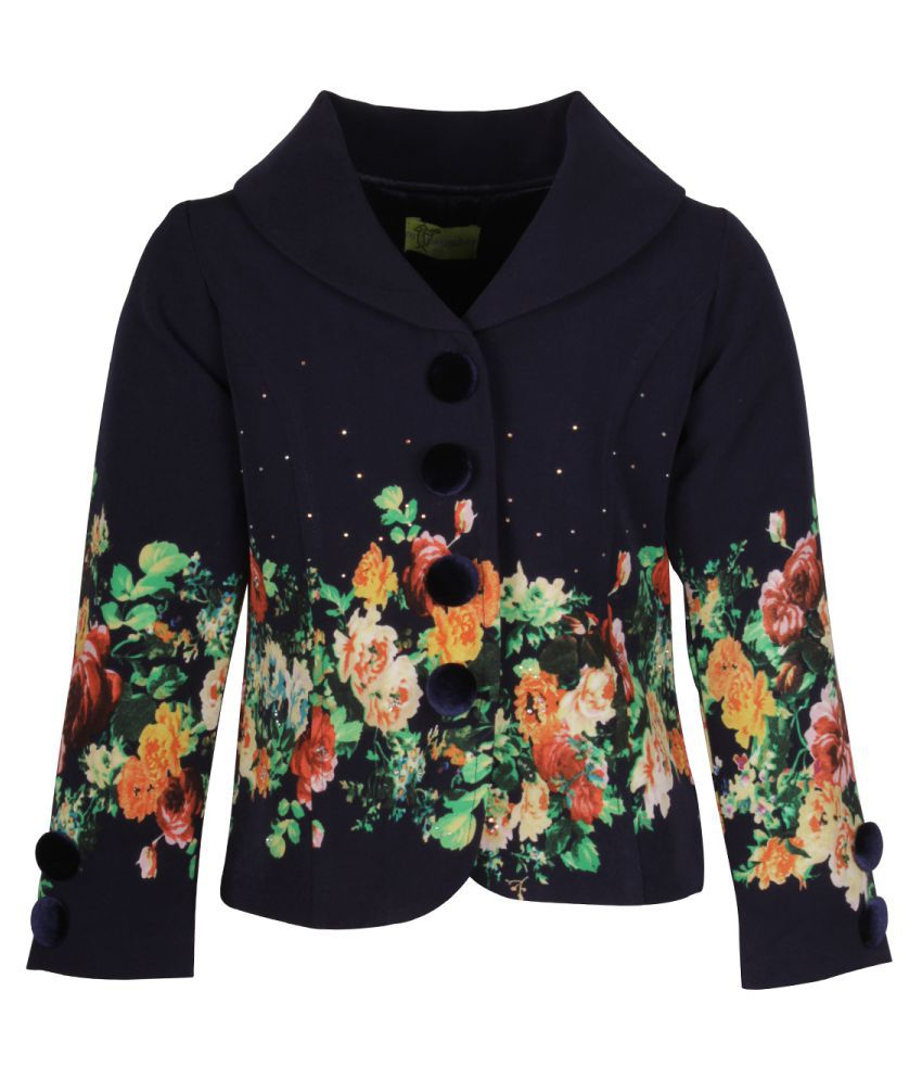 Cutecumber Navy Polyester Coat