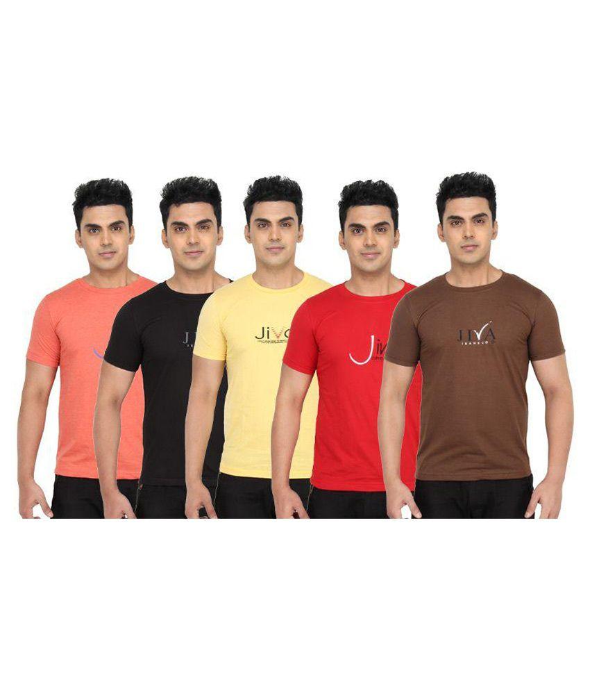 Jiva Multi Round T-Shirt Pack of 5
