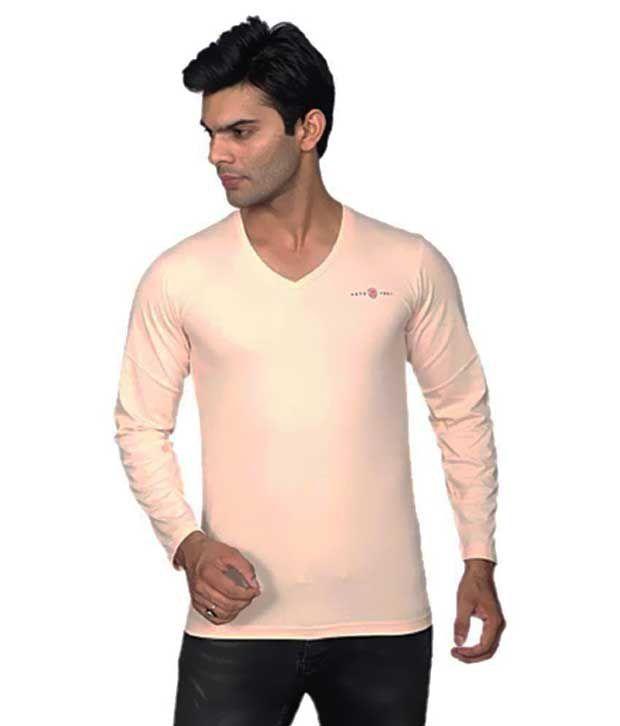 Rahis Beige V-Neck T-Shirt