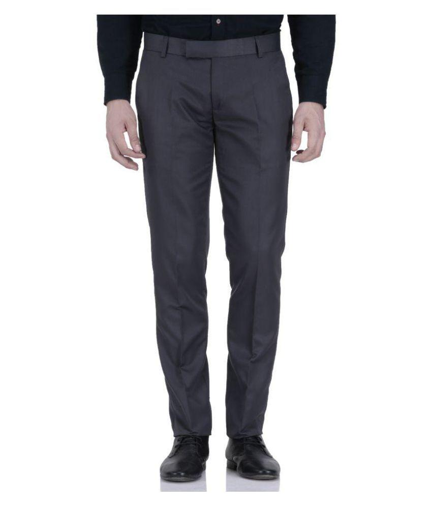 Vandnam Fabrics Grey Regular Pleated Trouser