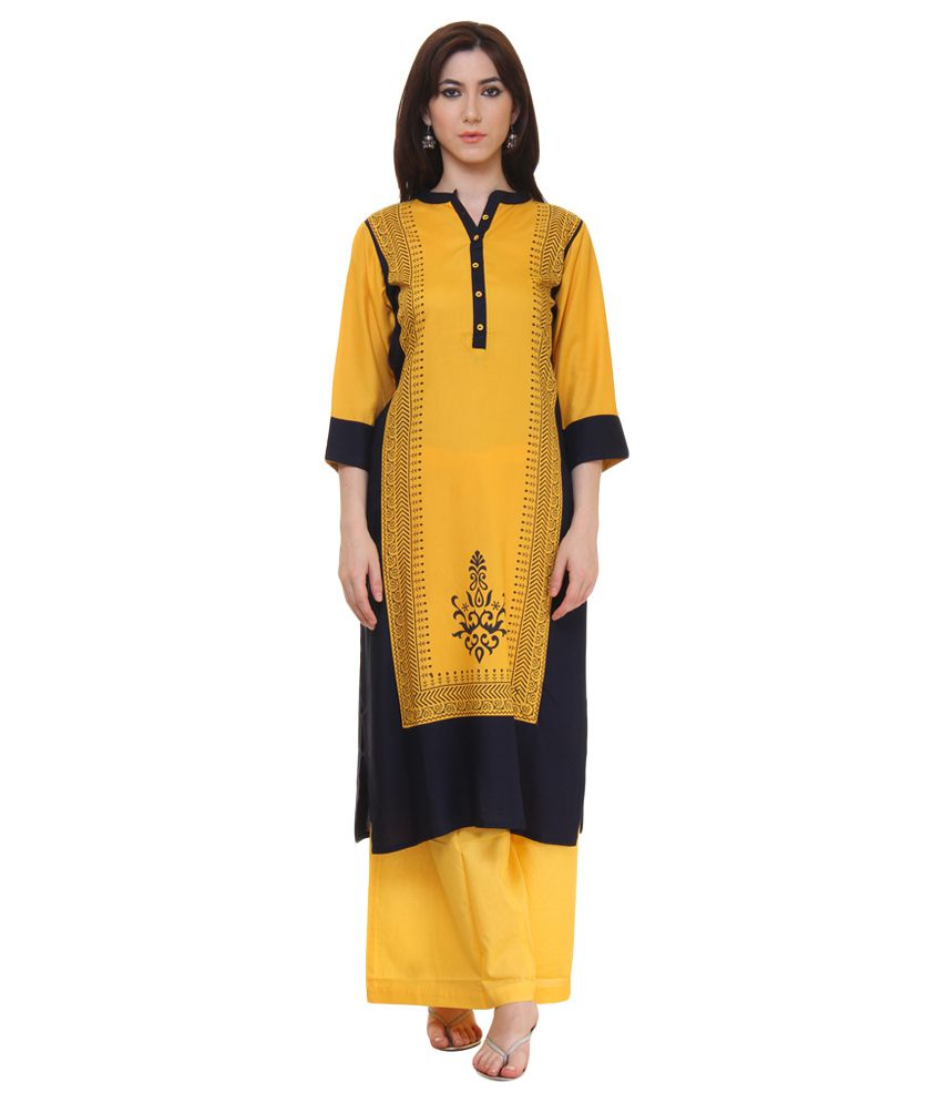 Shree Yellow Rayon Straight Kurti