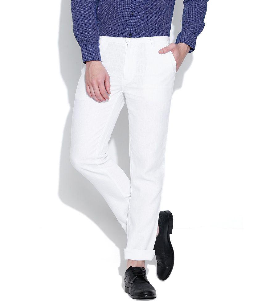 Impressions White Regular Flat Trouser