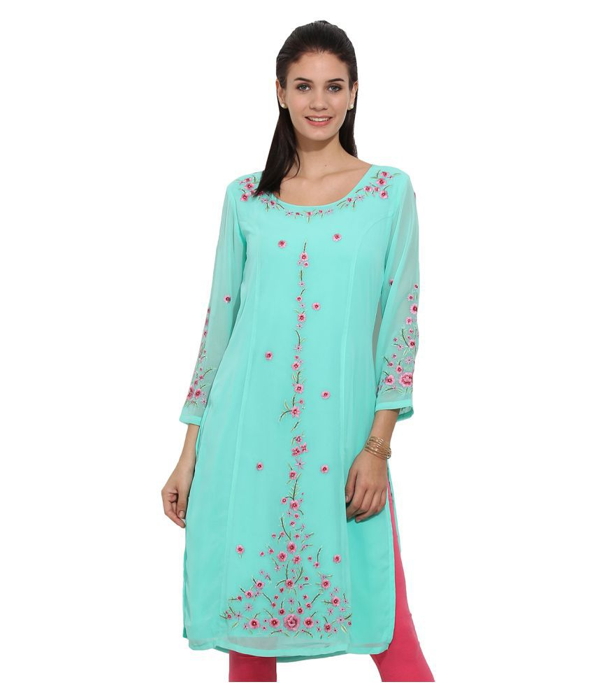 Ama Bella Green Georgette Straight Kurti