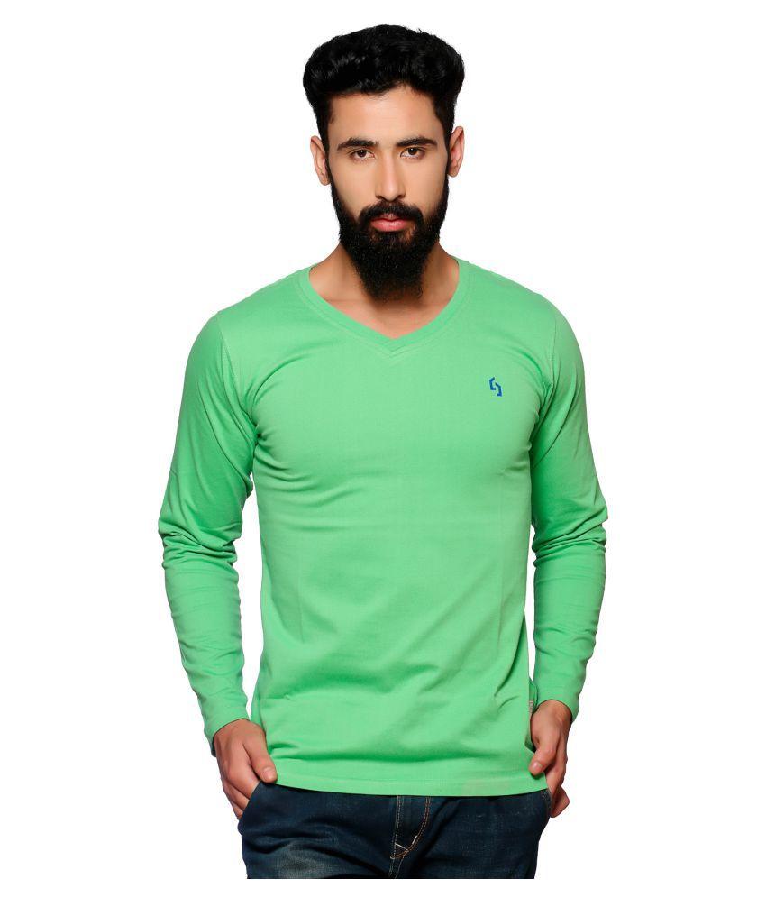 NUCODE Green V-neck T-Shirt