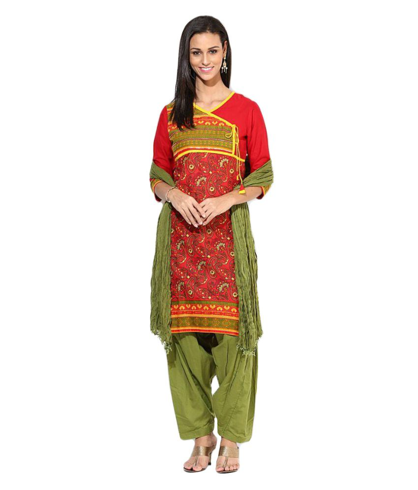 Jaipur Kurti Red Cotton Straight