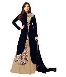 Jiva Black Bangalore Silk Anarkali Gown Semi-Stitched Suit