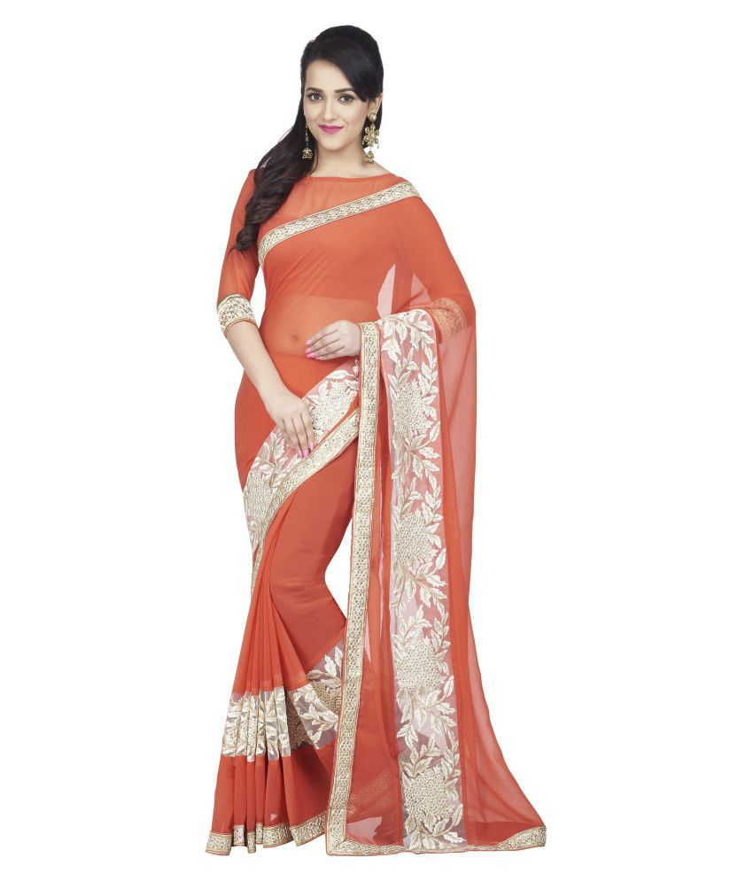 Oomph! Orange Chiffon Saree