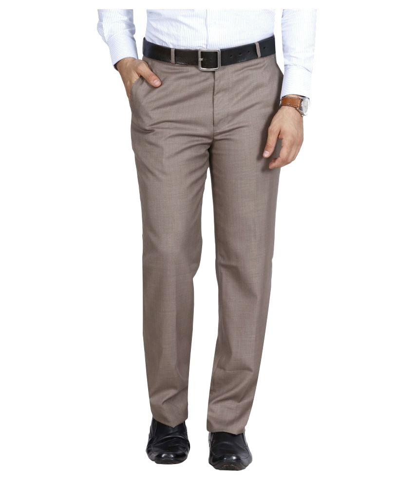Mchenry Beige Regular Flat Trouser