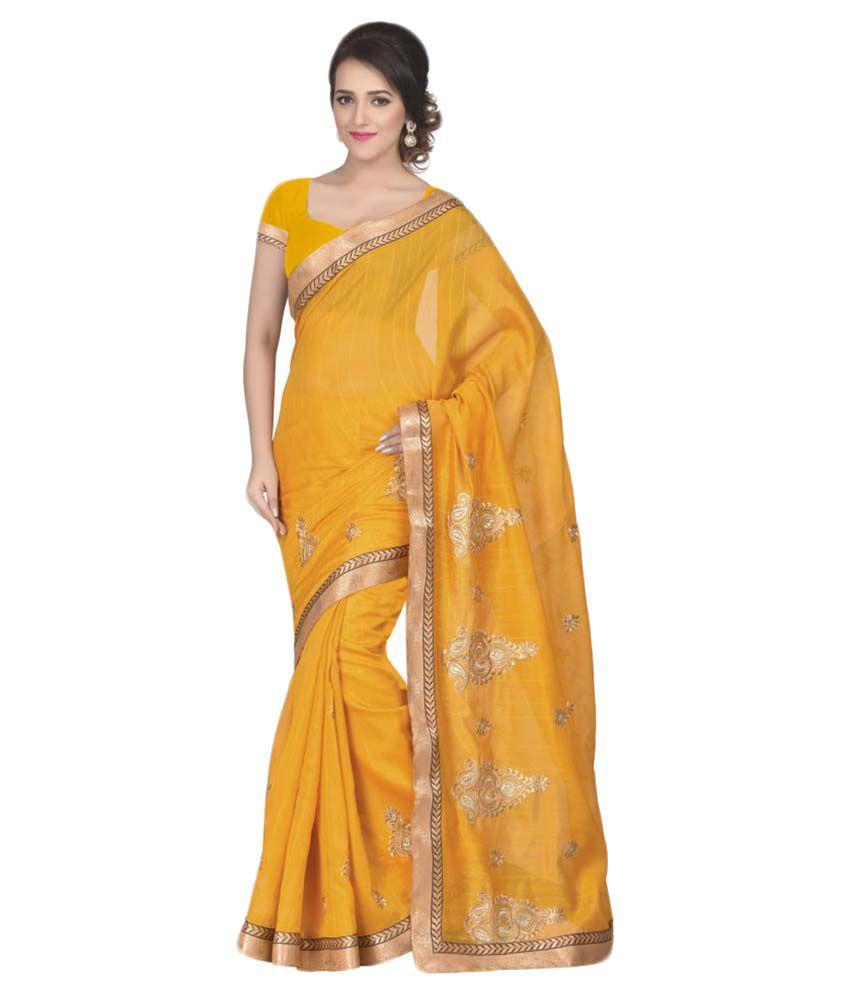 Oomph Yellow Cotton Silk Saree