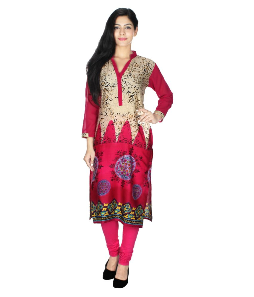 Laphino Multicoloured Art Silk Straight Kurti