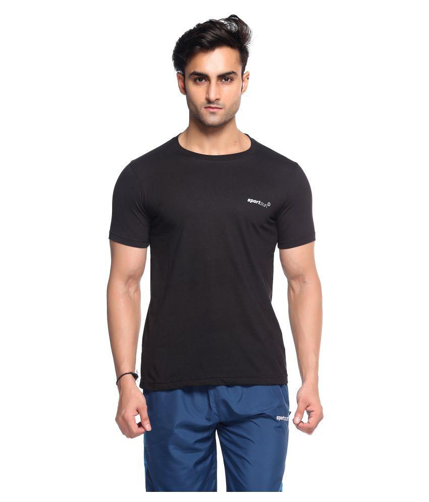 Sport Sun Black Polyester T-Shirt Single Pack