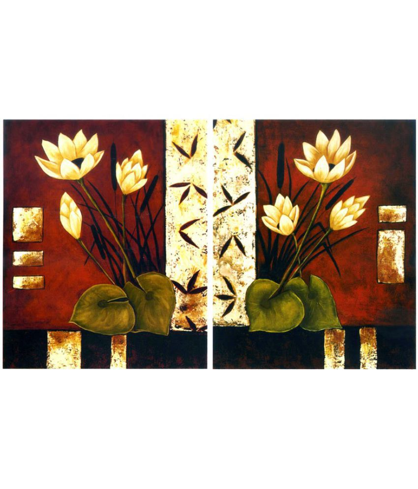 Vitalwalls Flower Paper Art Prints With Frame Single Piece