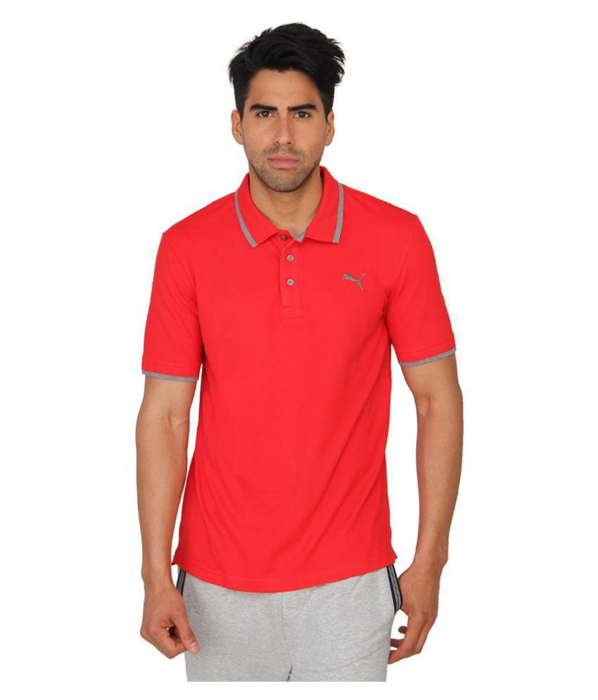 Puma Red Cotton Polo T-Shirt