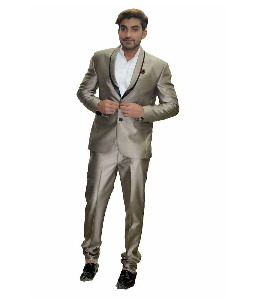 City & Club Grey Solid Party 2 Piece Suits