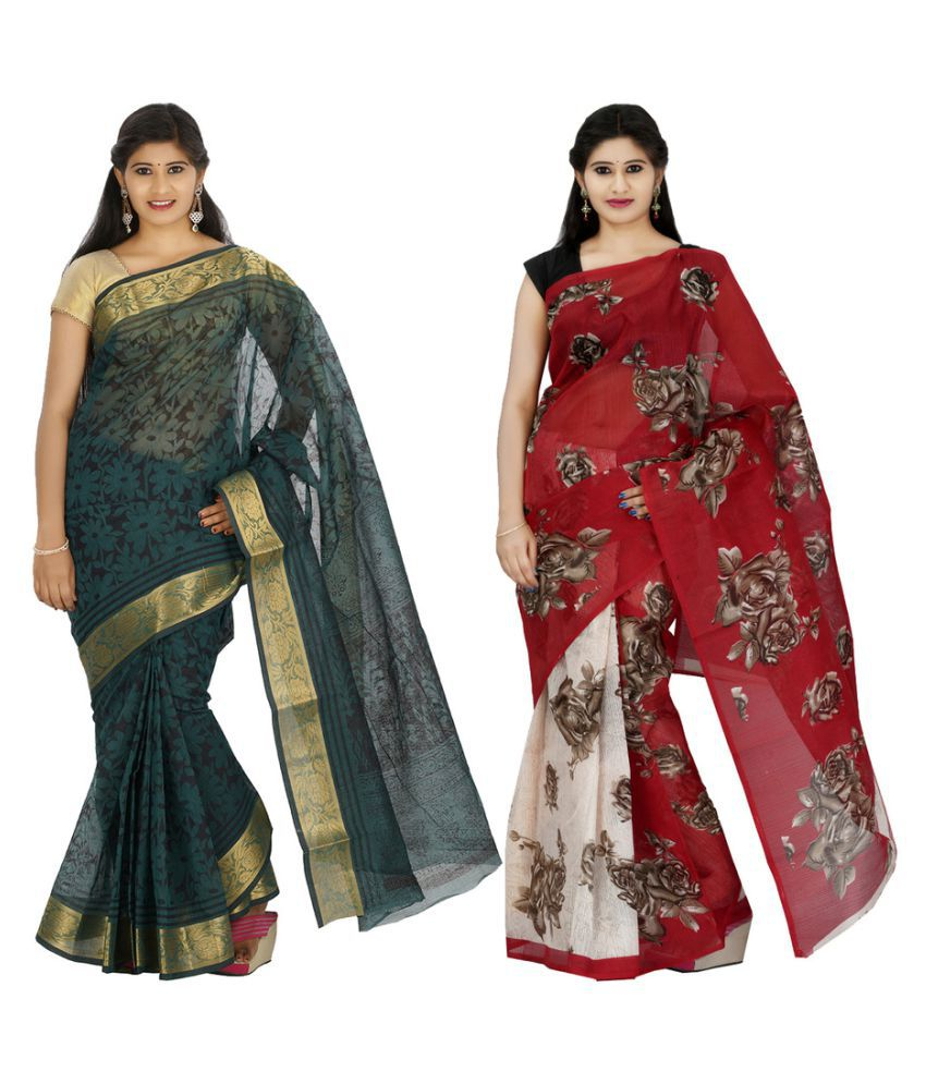 Khaja Multicoloured Cotton Silk Saree Combos