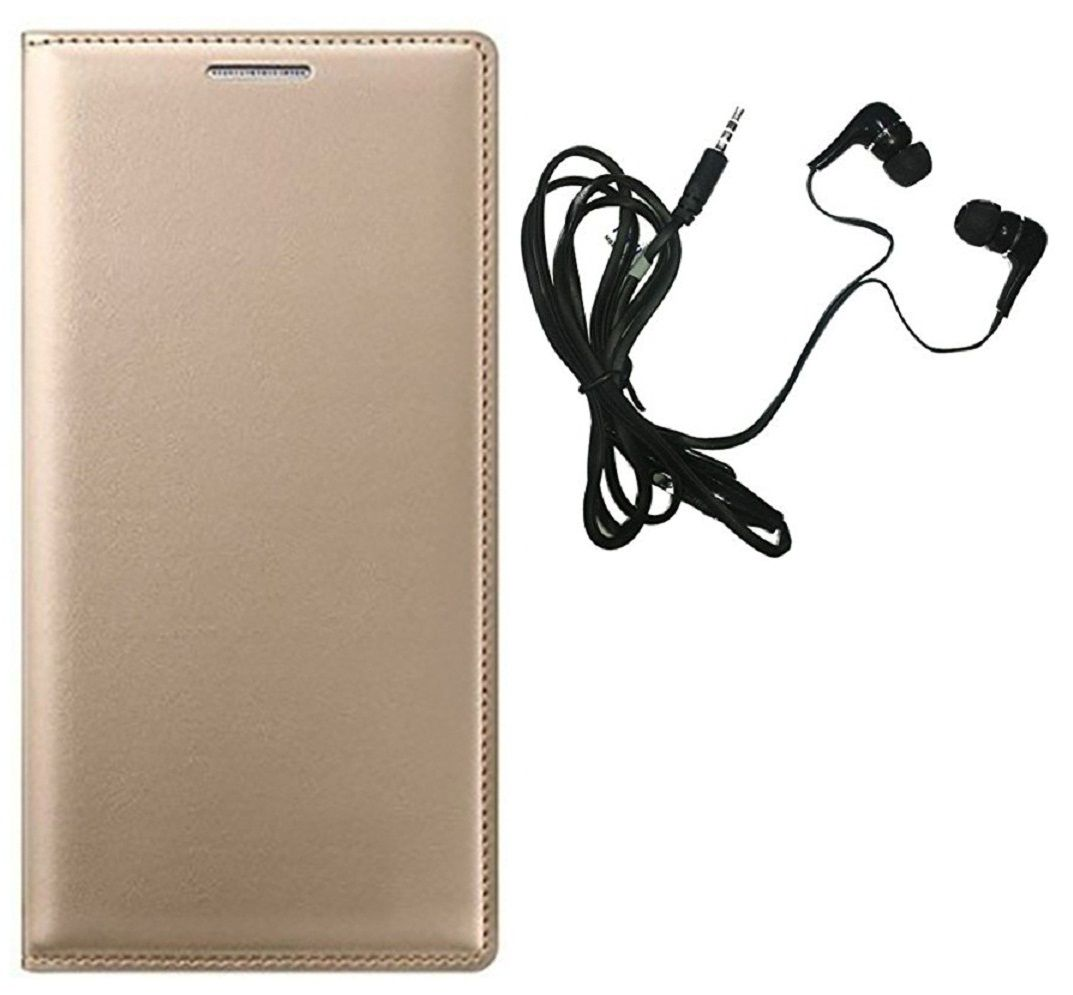 MuditMobi Premium PU Leather Quality Flip Cover Case With Earphone For Lava A88 -Golden