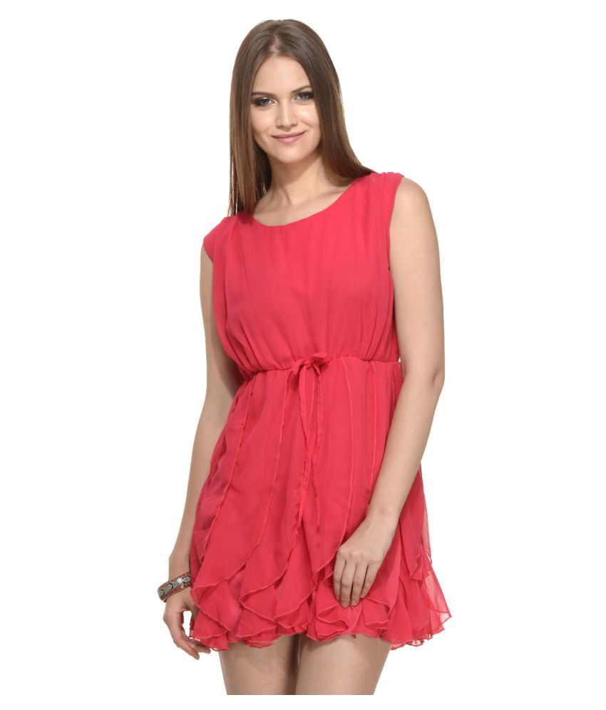 Mystree Red Poly Georgette A- line