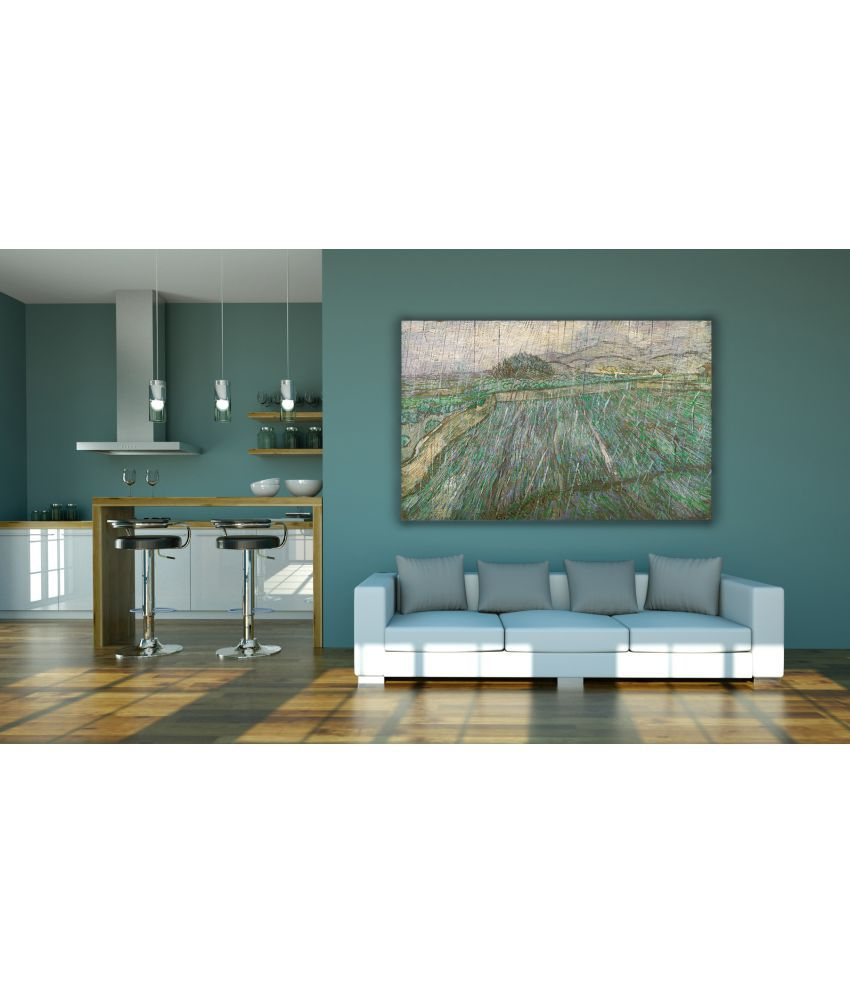 Canvs Rain or Enclosed Wheat Field in the Rain, 1889 Wood Art Prints With Frame Single Piece
