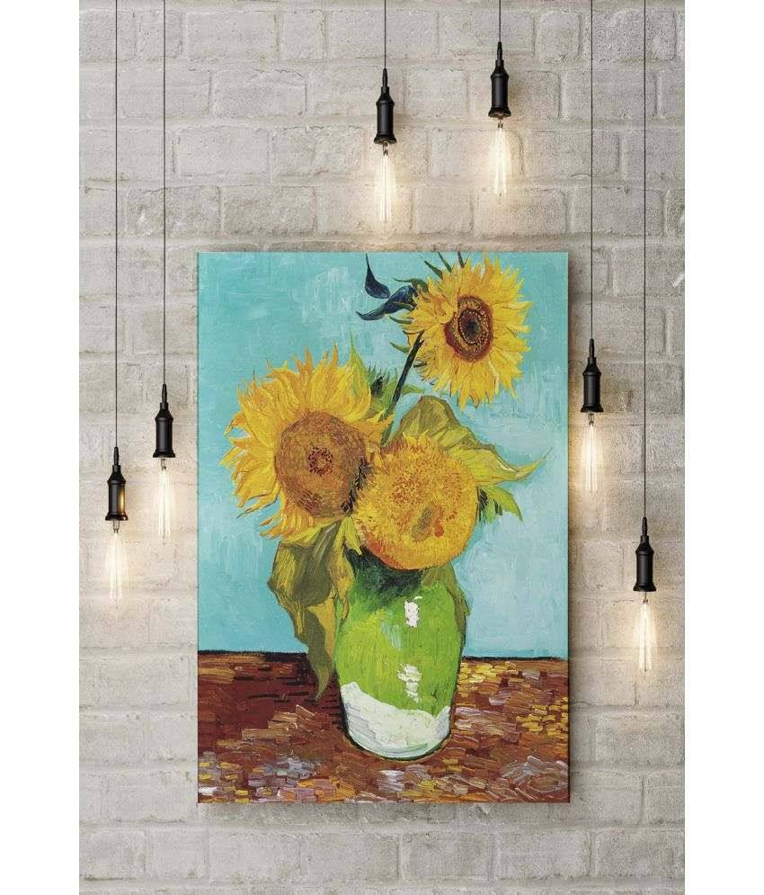 Canvs Sunflowers (F.453), first version: turquoise background Wood Art Prints With Frame Single Piece