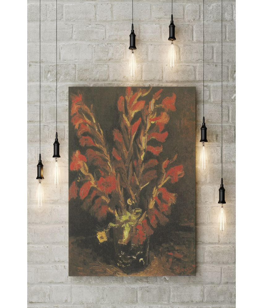 Canvs Vase with Red Gladioli, 1886 Wood Art Prints With Frame Single Piece