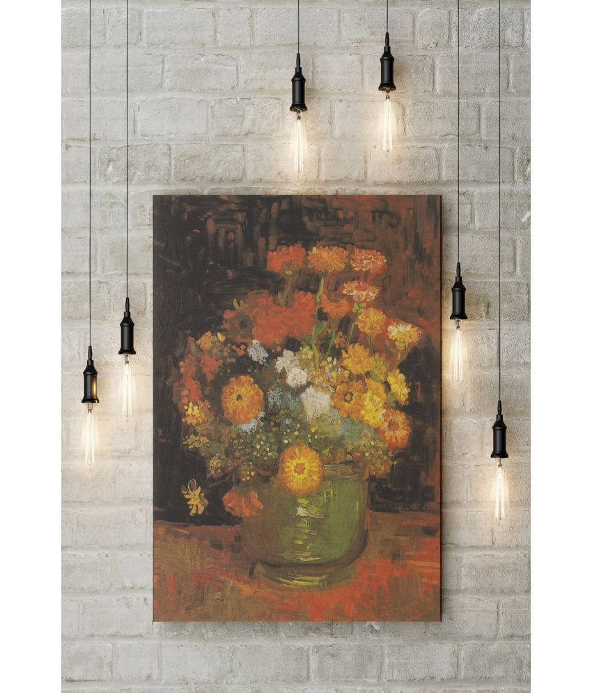 Canvs Vase with Zinnias, 1886 Wood Art Prints With Frame Single Piece