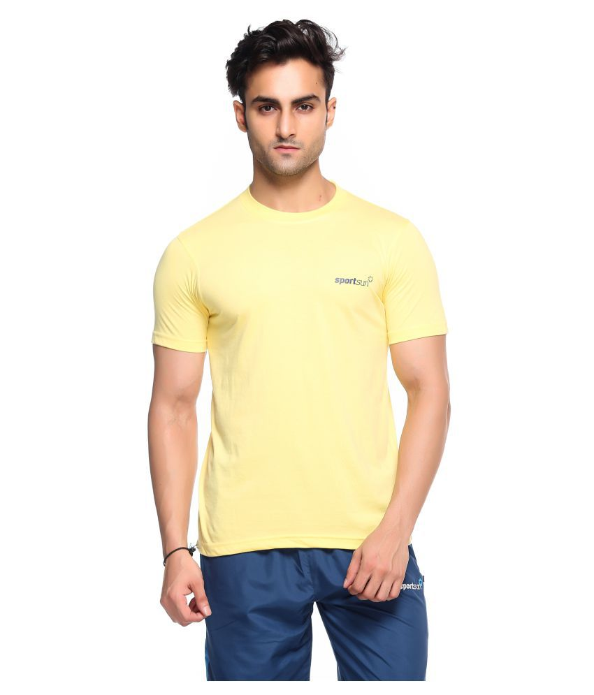 Sport Sun Yellow Polyester T-Shirt Single Pack