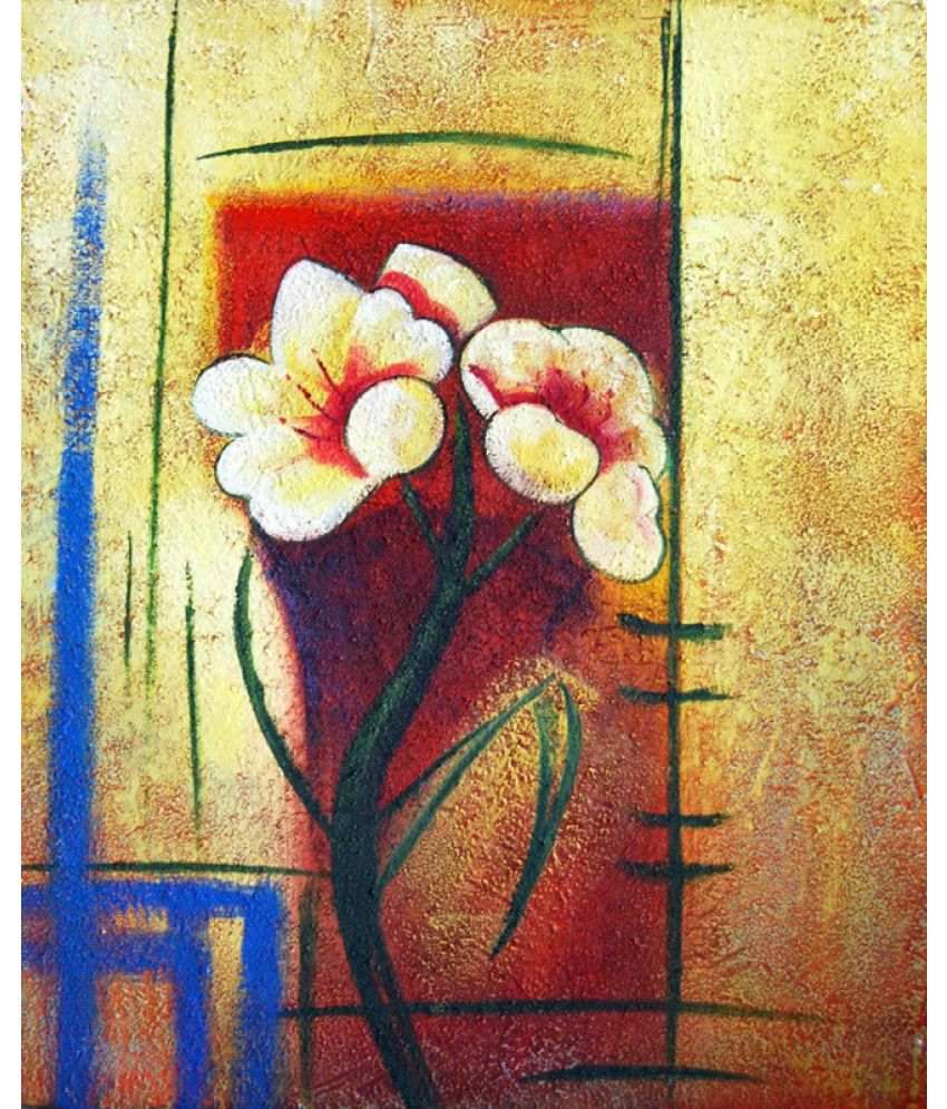 Vitalwalls Abstract Painting Imported White Polypapier on PVC Frame Paper Art Prints With Frame Single Piece