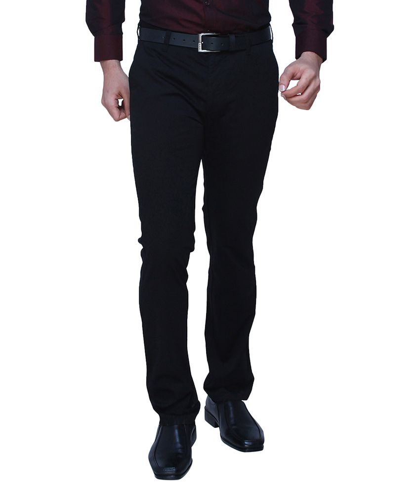 DJ&C By FBB Black Tapered Fit Casual Trousers