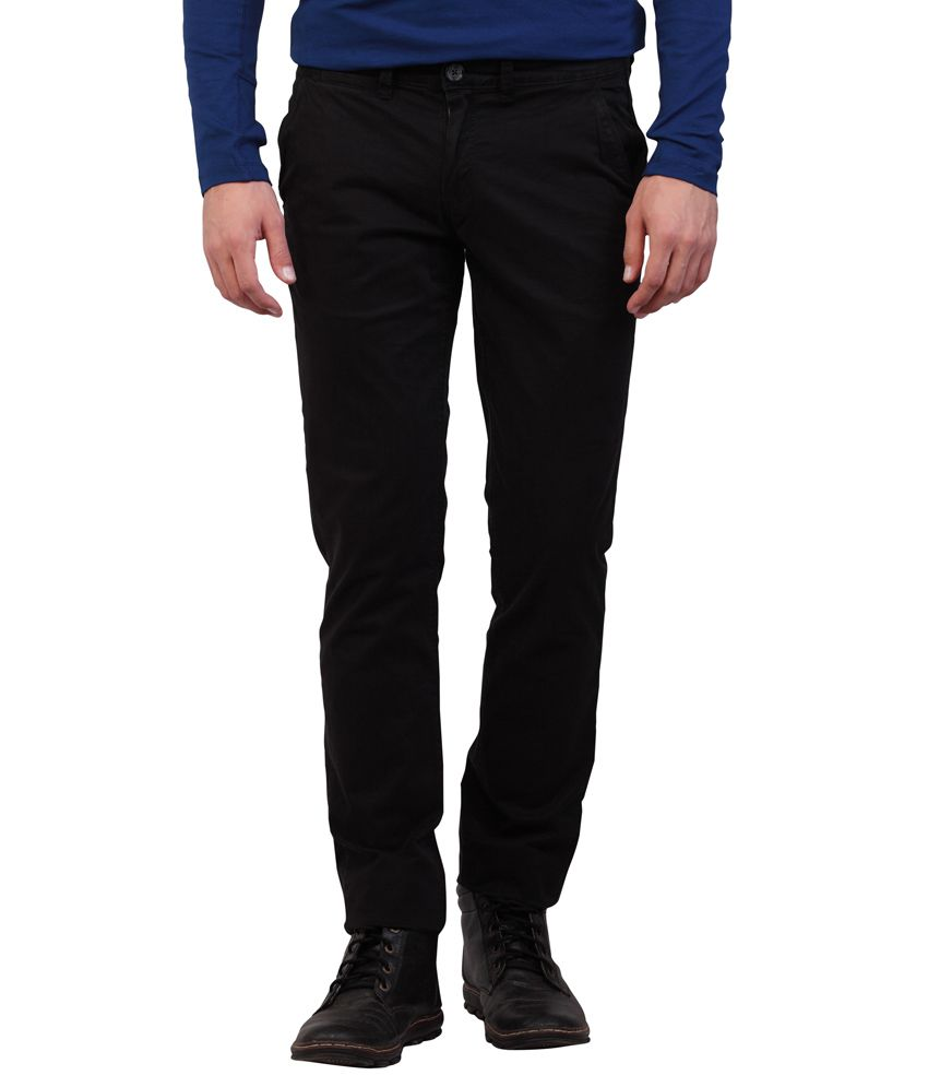 DJ&C By FBB Black Slim Fit Casual Trousers
