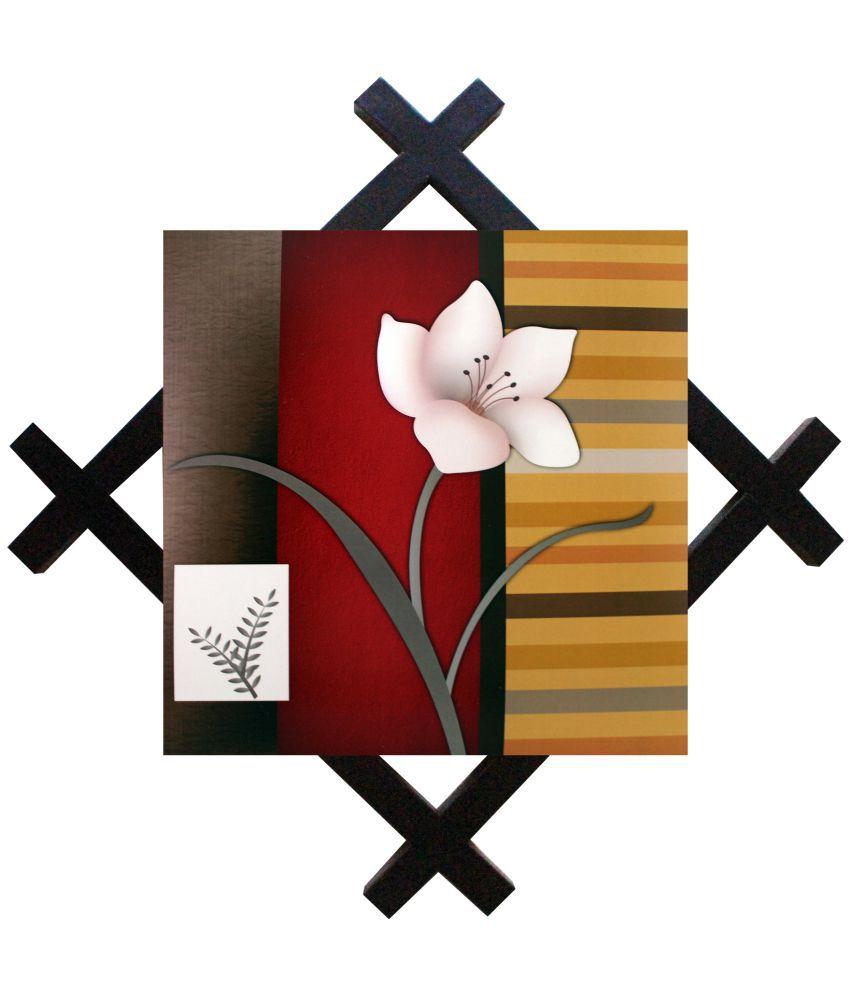 SAF Textured Wooden Showpiece with Frame