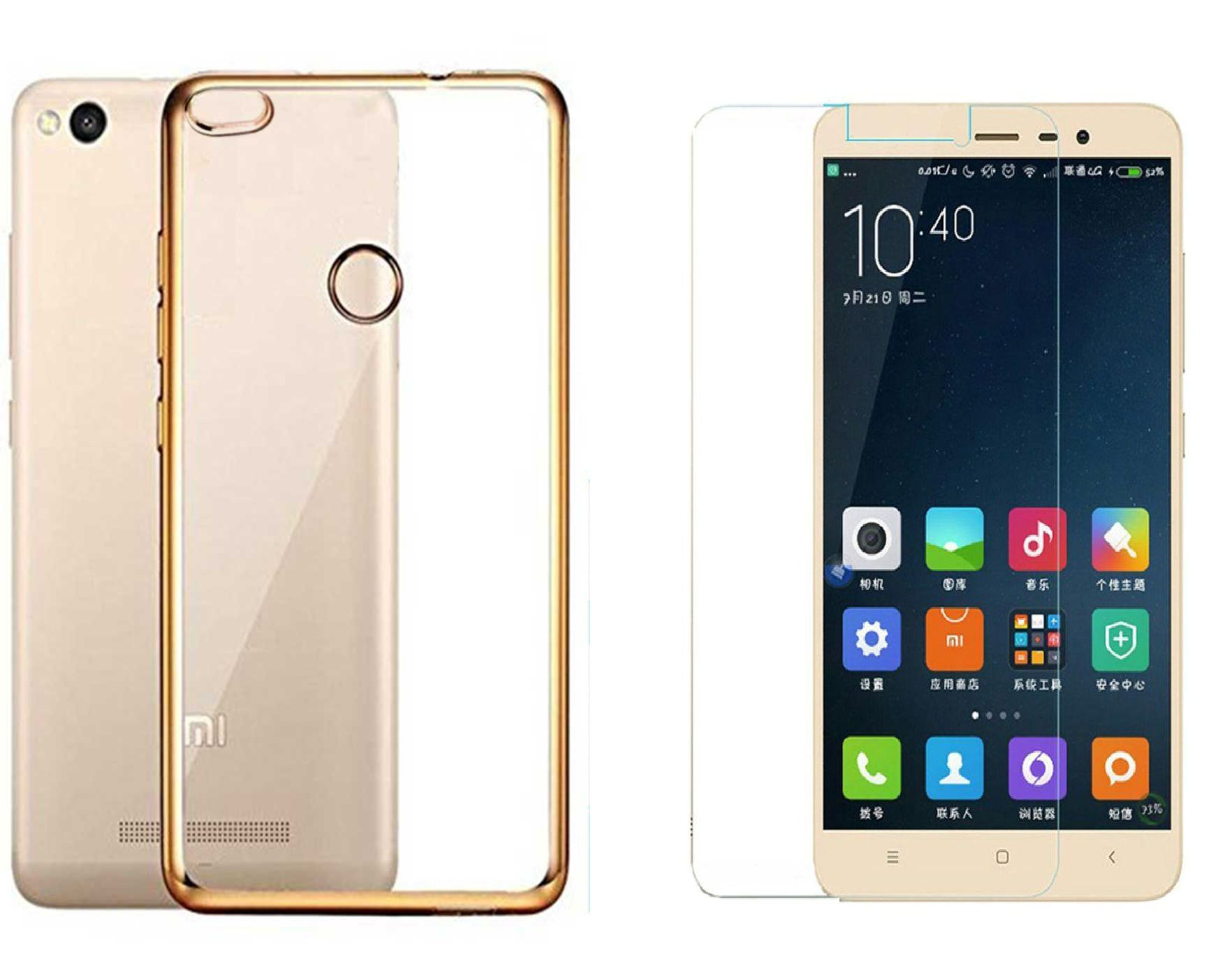 DMGC Back Case Cover for Xiaomi Redmi 3s Prime with Tempered Glass Gold