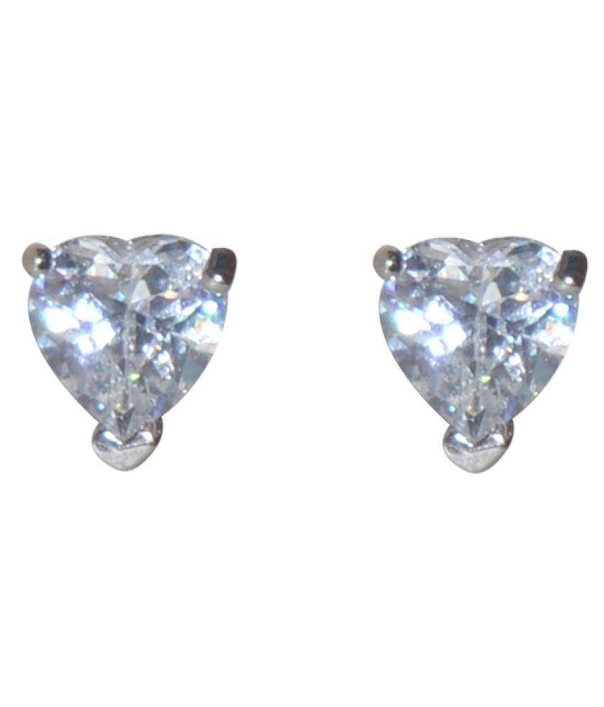 Kataria Jewellers Hearts Solitiare 92.5 BIS Hallmarked Silver Stud Earring