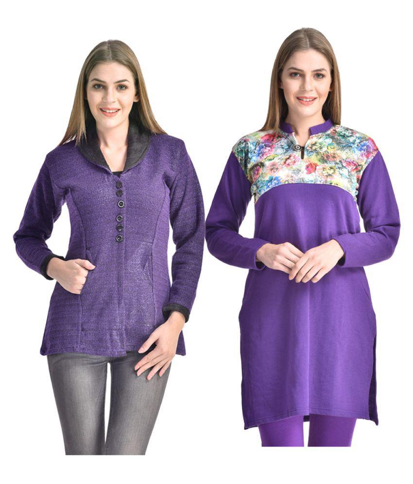 Kritika World Purple Woollen Straight Kurti