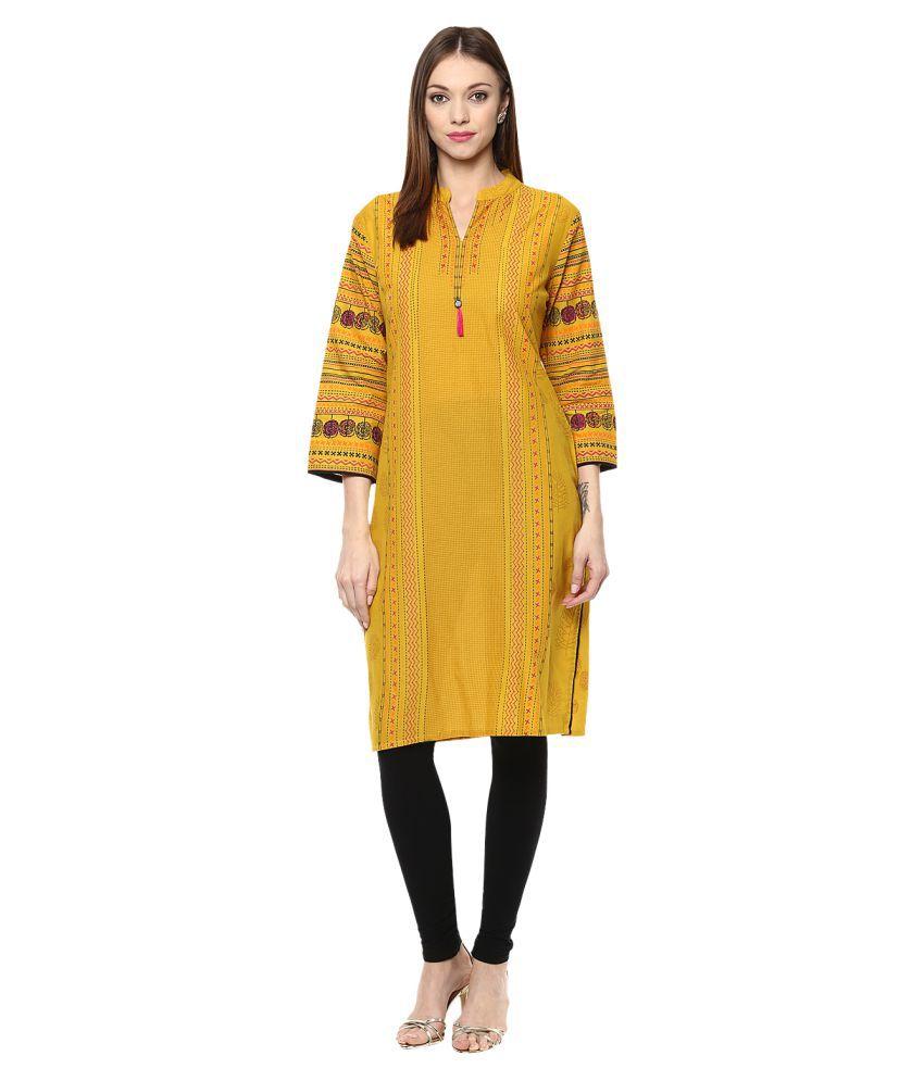 Prakhya Yellow Cotton Straight Kurti