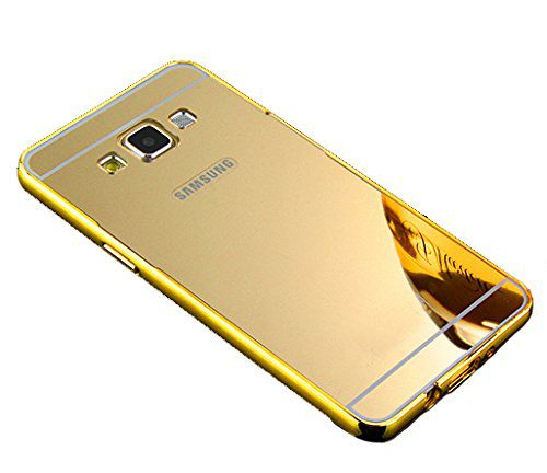 Style Crome Luxury Metal Bumper + Acrylic Mirror Back Cover Case For Samsung Galaxy On7 + Mini Aux wired Selfie Stick.