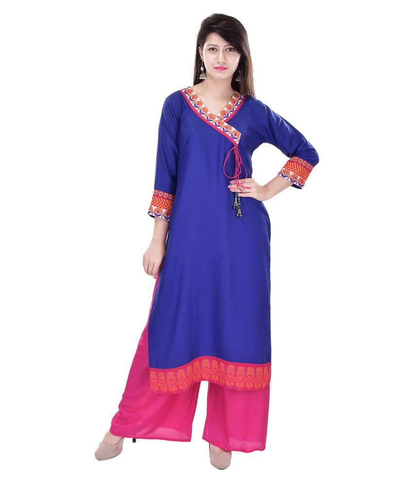 Shopping World Blue Cotton Straight