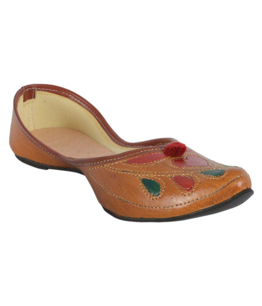 DFR Tan Flat Ethnic Footwear