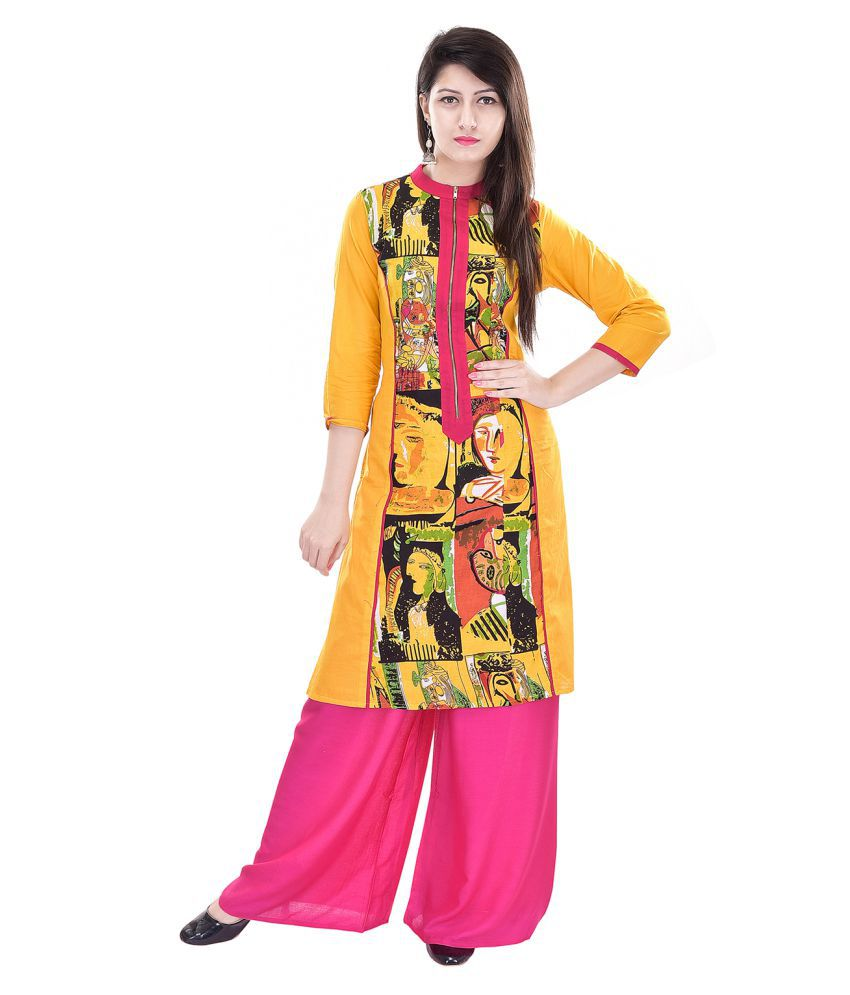 Khushfashions Multicoloured Cotton Straight
