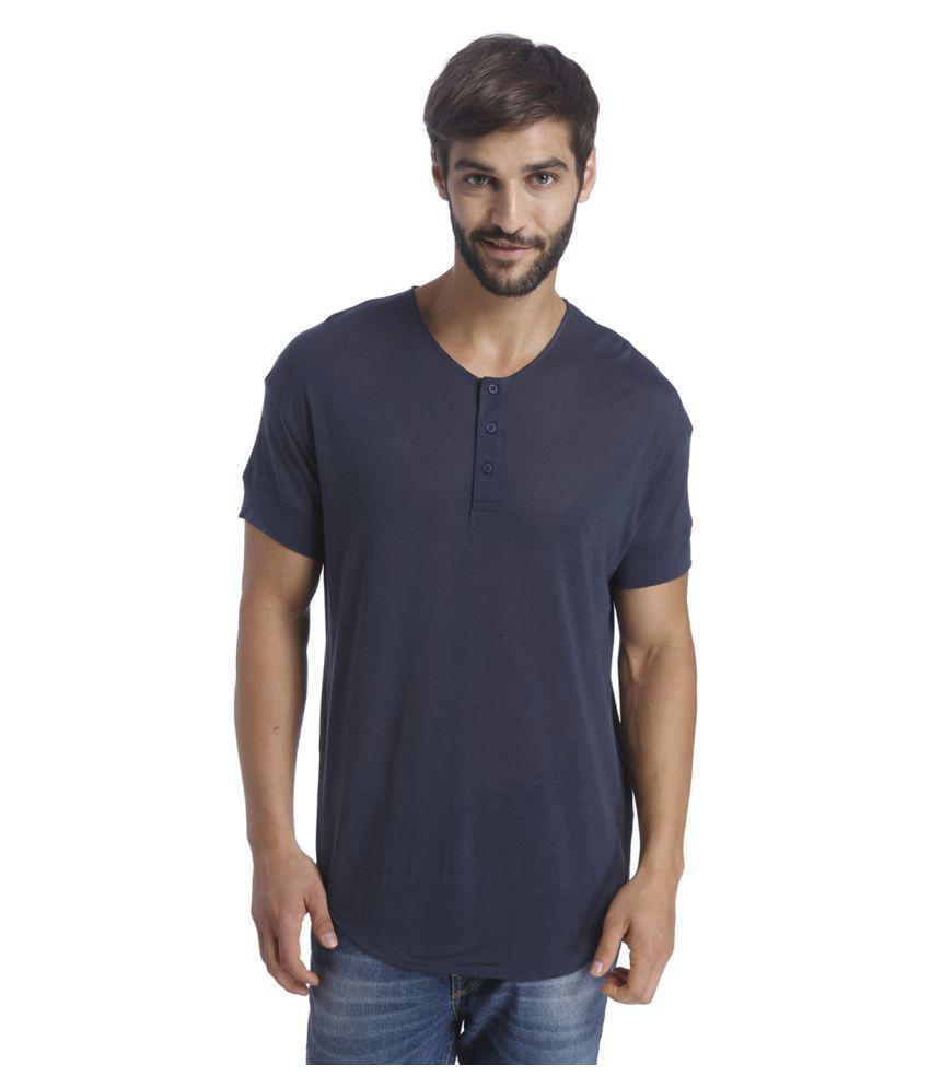 Selected Navy Henley T-Shirt